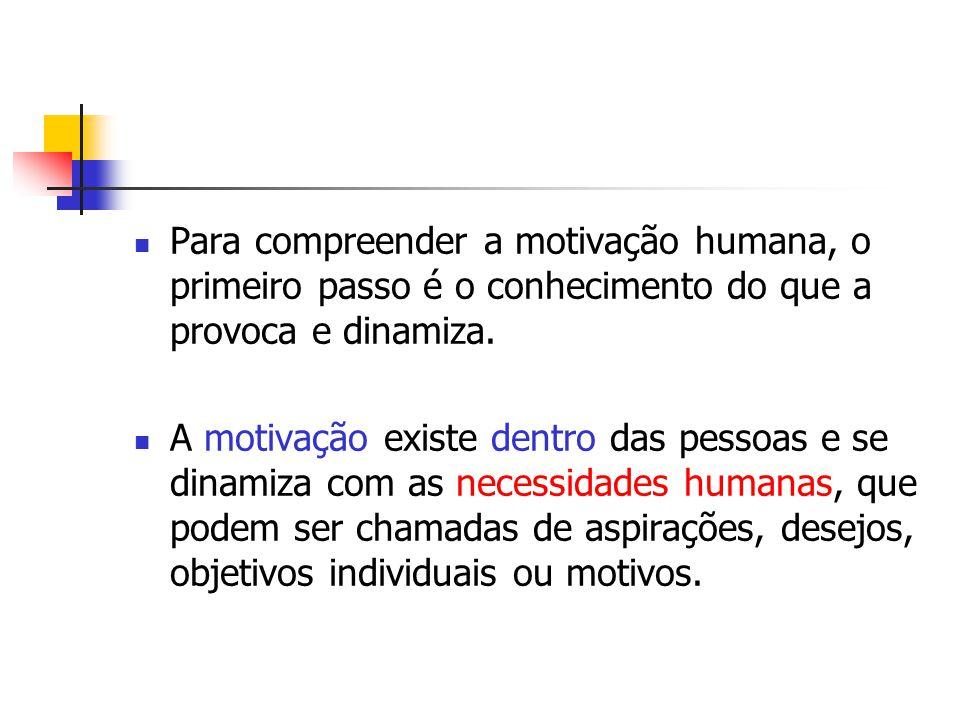 Para compreender a motivação humana, o primeiro passo é o conhecimento do que a provoca e dinamiza. A motivação existe dentro das pessoas e se dinamiz