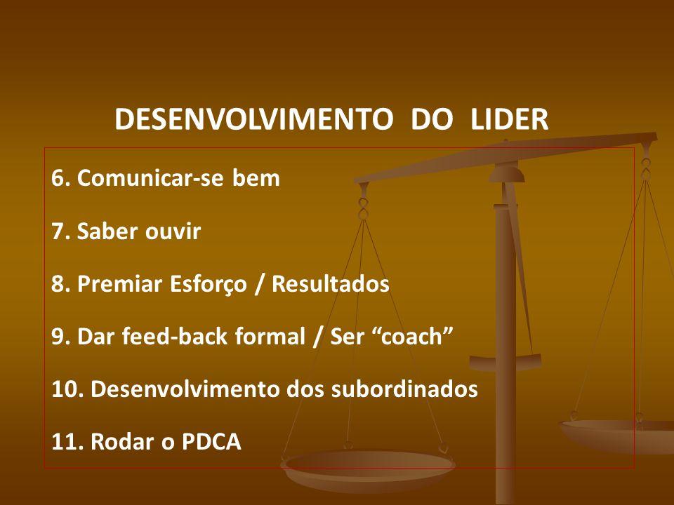 DESENVOLVIMENTO DO LIDER 6. Comunicar-se bem 7. Saber ouvir 8. Premiar Esforço / Resultados 9. Dar feed-back formal / Ser coach 10. Desenvolvimento do