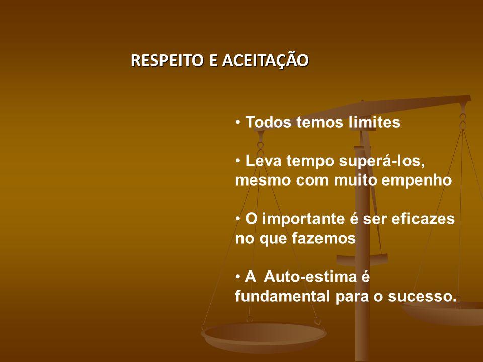 RESPEITO E ACEITAÇÃO Todos temos limites Leva tempo superá-los, mesmo com muito empenho O importante é ser eficazes no que fazemos A Auto-estima é fundamental para o sucesso.