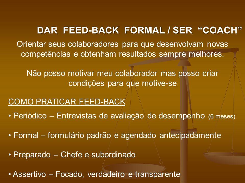 DAR FEED-BACK FORMAL / SER COACH Orientar seus colaboradores para que desenvolvam novas competências e obtenham resultados sempre melhores.