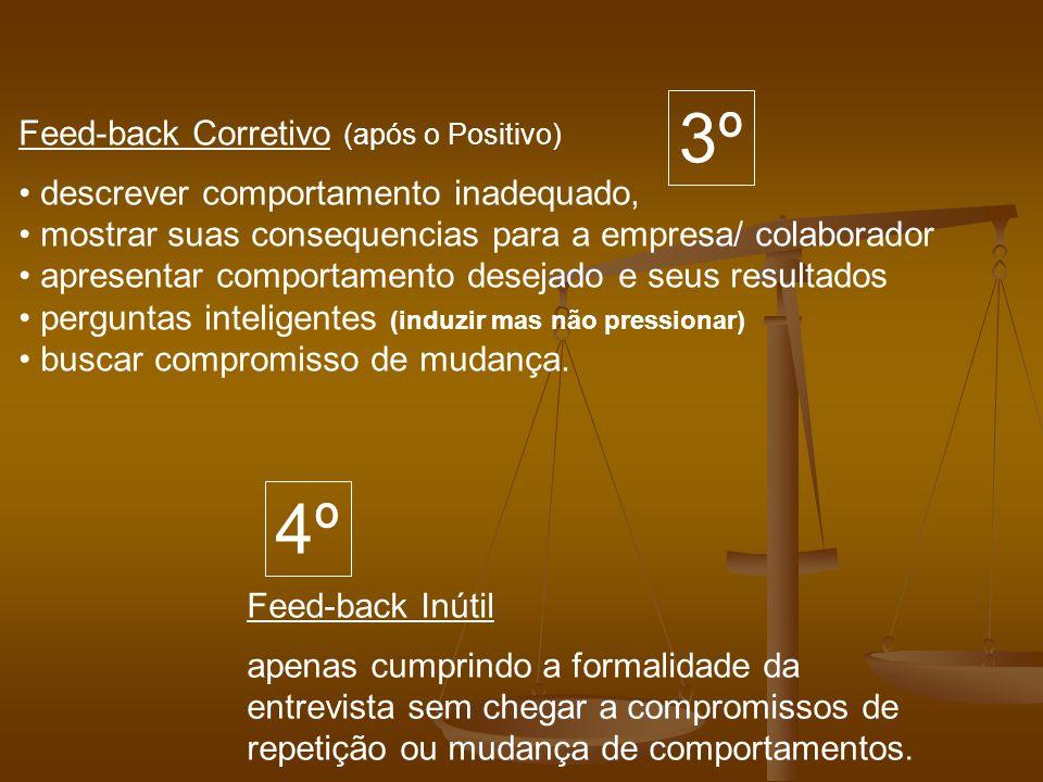 Feed-back Corretivo (após o Positivo) descrever comportamento inadequado, mostrar suas consequencias para a empresa/ colaborador apresentar comportame