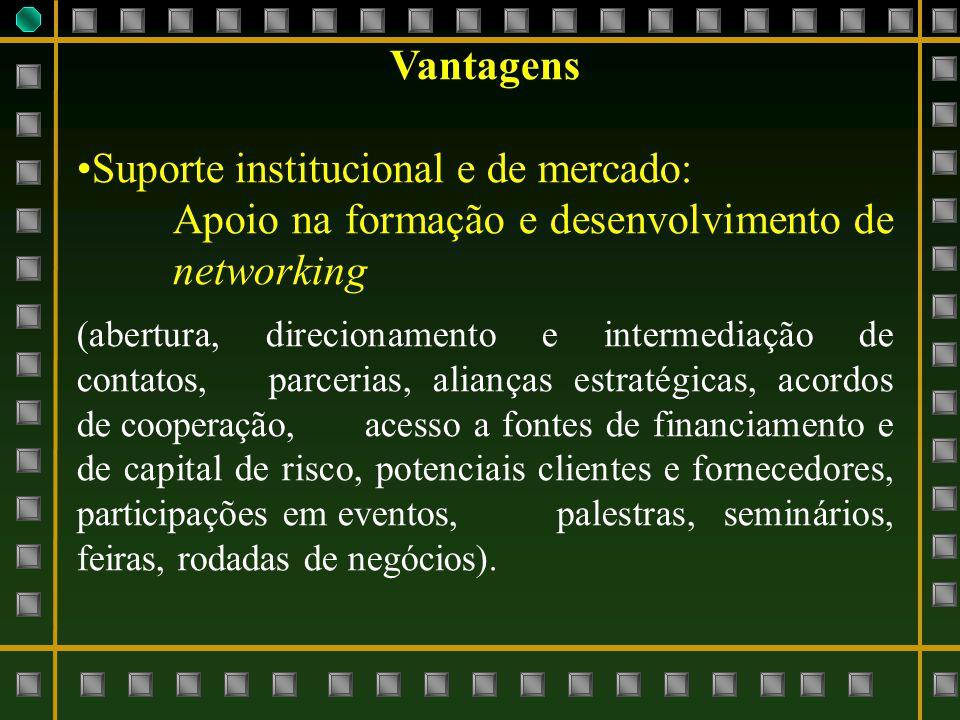 Vantagens Suporte institucional e de mercado: Apoio na formação e desenvolvimento de networking (abertura, direcionamento e intermediação de contatos,