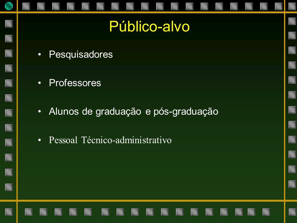 Público-alvo Pesquisadores Professores Alunos de graduação e pós-graduação Pessoal Técnico-administrativo