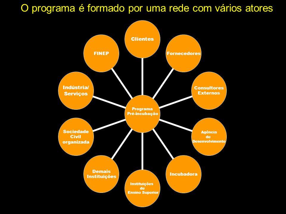 O programa é formado por uma rede com vários atores Programa Pré- incubação ClientesFornecedores Consultores Externos Agência de Desenvolvimento Incub