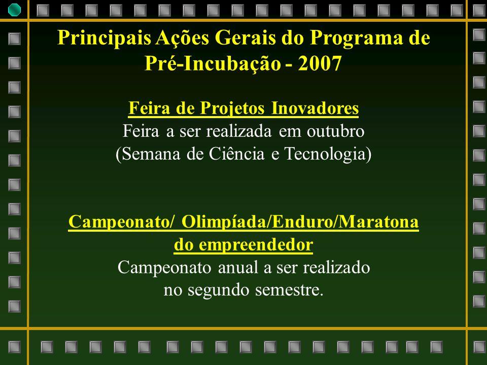 Principais Ações Gerais do Programa de Pré-Incubação - 2007 Feira de Projetos Inovadores Feira a ser realizada em outubro (Semana de Ciência e Tecnolo