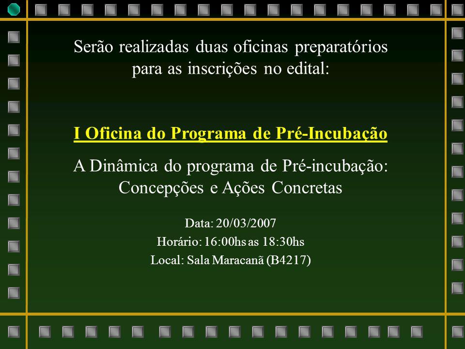 Serão realizadas duas oficinas preparatórios para as inscrições no edital: I Oficina do Programa de Pré-Incubação A Dinâmica do programa de Pré-incuba
