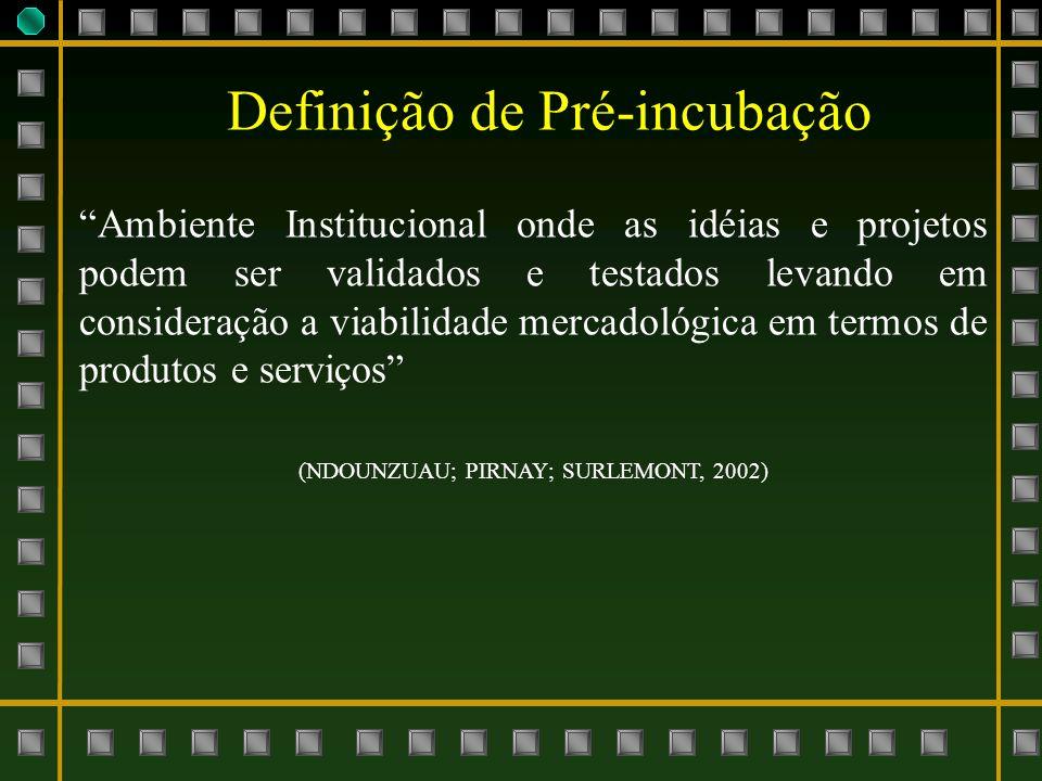 Banco de Idéias (Universidade) Banco de Problemas (Industria / Serviços) Ambiente de Pré-incubação na Universidade Federal de Itajubá Banco de Captação e Aporte Financeiro Banco de Gestão, Acompanhamento e Avaliação Modelo proposto e adaptado a partir de Renato Nunes (2006)