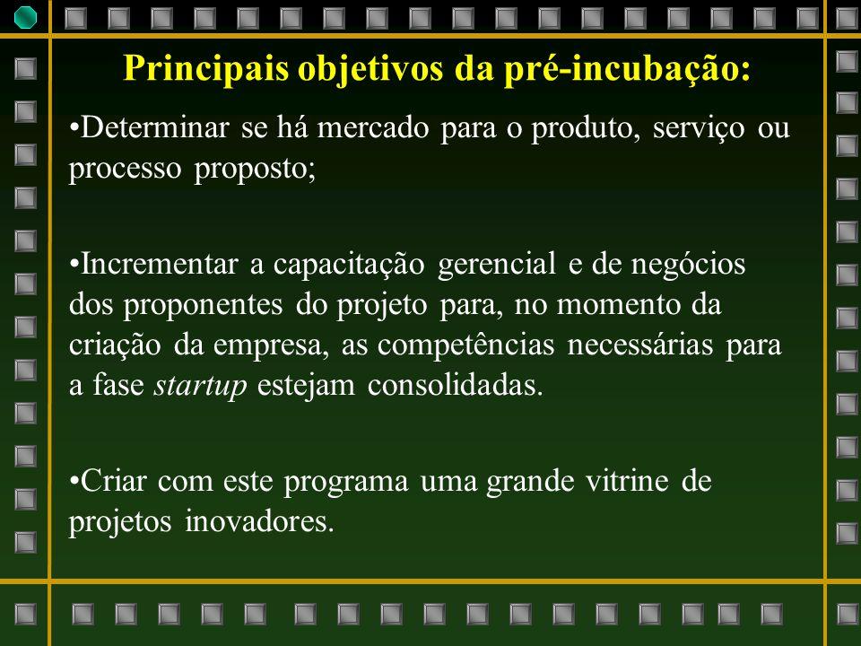 Determinar se há mercado para o produto, serviço ou processo proposto; Incrementar a capacitação gerencial e de negócios dos proponentes do projeto pa