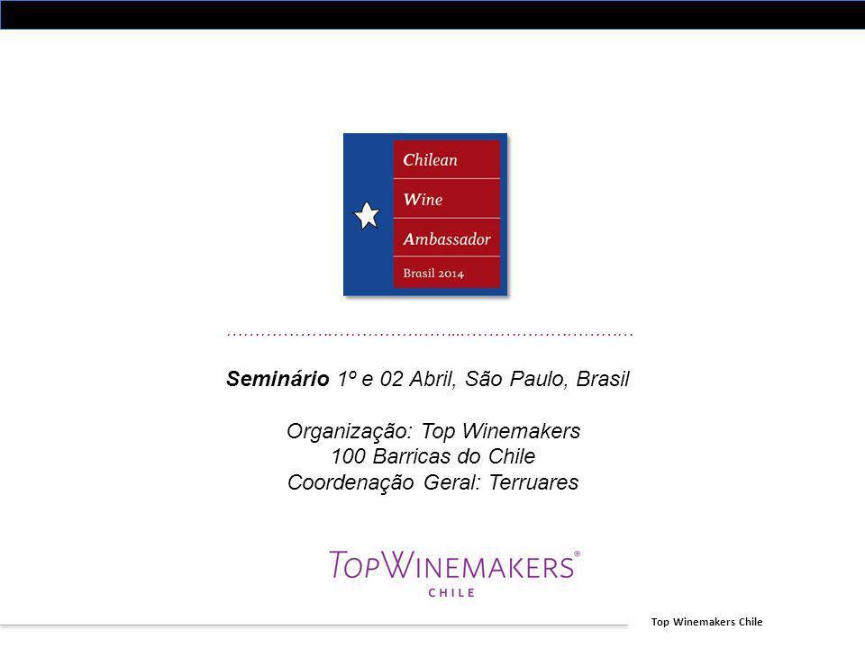 Top Winemakers Chile ……………….…………………...………………………… Seminário 1º e 02 Abril, São Paulo, Brasil Organização: Top Winemakers 100 Barricas do Chile Coordena