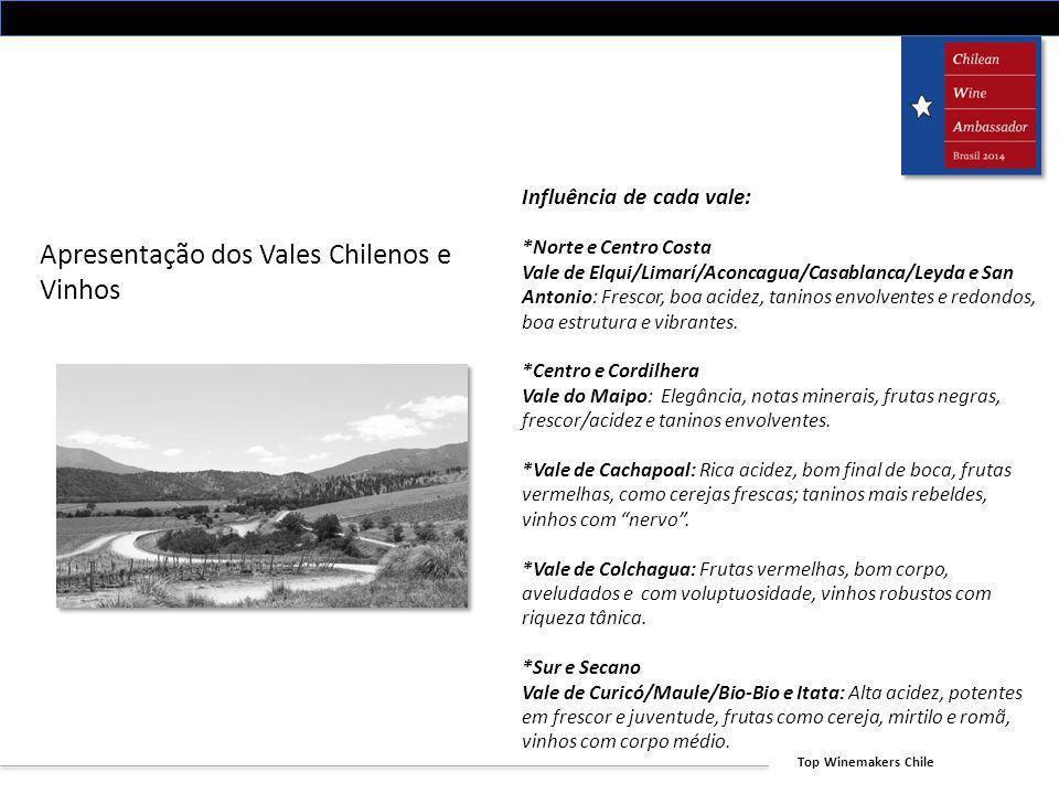Top Winemakers Chile Apresentação dos Vales Chilenos e Vinhos Influência de cada vale: *Norte e Centro Costa Vale de Elqui/Limarí/Aconcagua/Casablanca