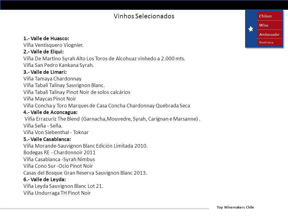 Top Winemakers Chile Vinhos Selecionados 1.- Valle de Huasco: Viña Ventisquero Viognier. 2.- Valle de Elqui: Viña De Martino Syrah Alto Los Toros de A