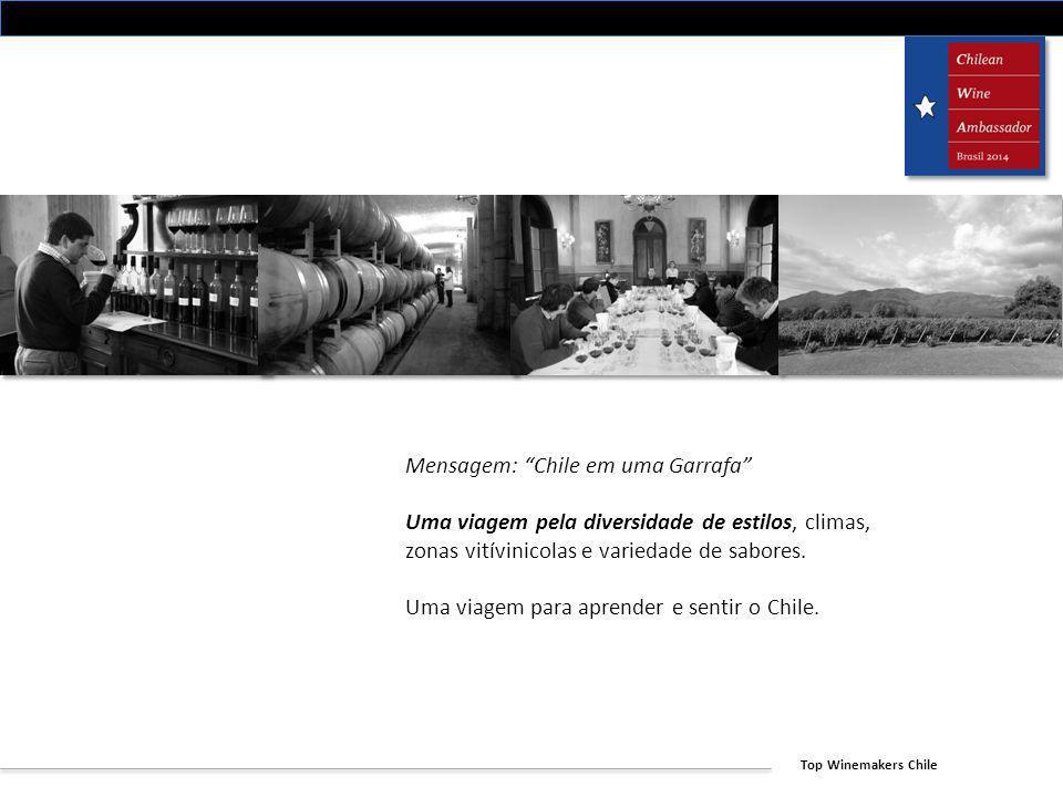 Top Winemakers Chile Mensagem: Chile em uma Garrafa Uma viagem pela diversidade de estilos, climas, zonas vitívinicolas e variedade de sabores. Uma vi