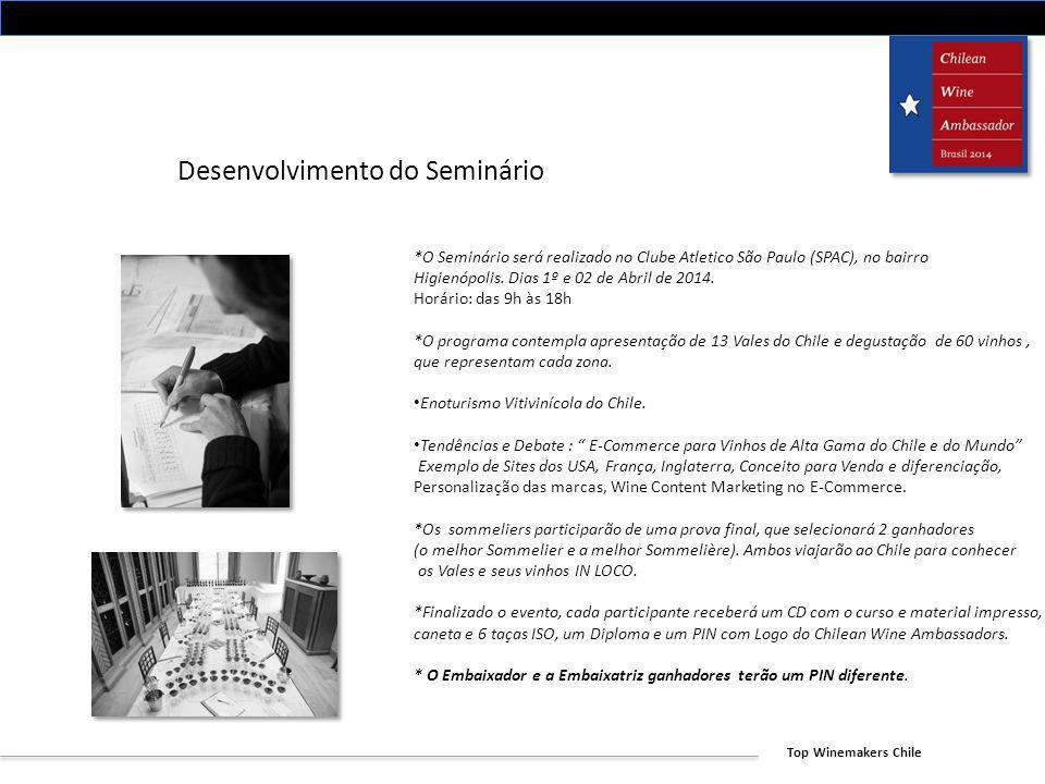Top Winemakers Chile Desenvolvimento do Seminário *O Seminário será realizado no Clube Atletico São Paulo (SPAC), no bairro Higienópolis. Dias 1º e 02