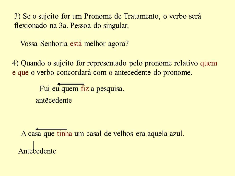 3) Se o sujeito for um Pronome de Tratamento, o verbo será flexionado na 3a.
