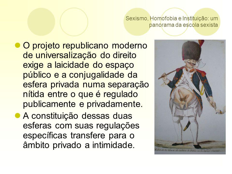 Sexismo, Homofobia e Instituição: um panorama da escola sexista Segundo a UNESCO, 44,9 dos alunos de Vitória e 40,9 de São Paulo não querem ter um colega de classe homossexual.