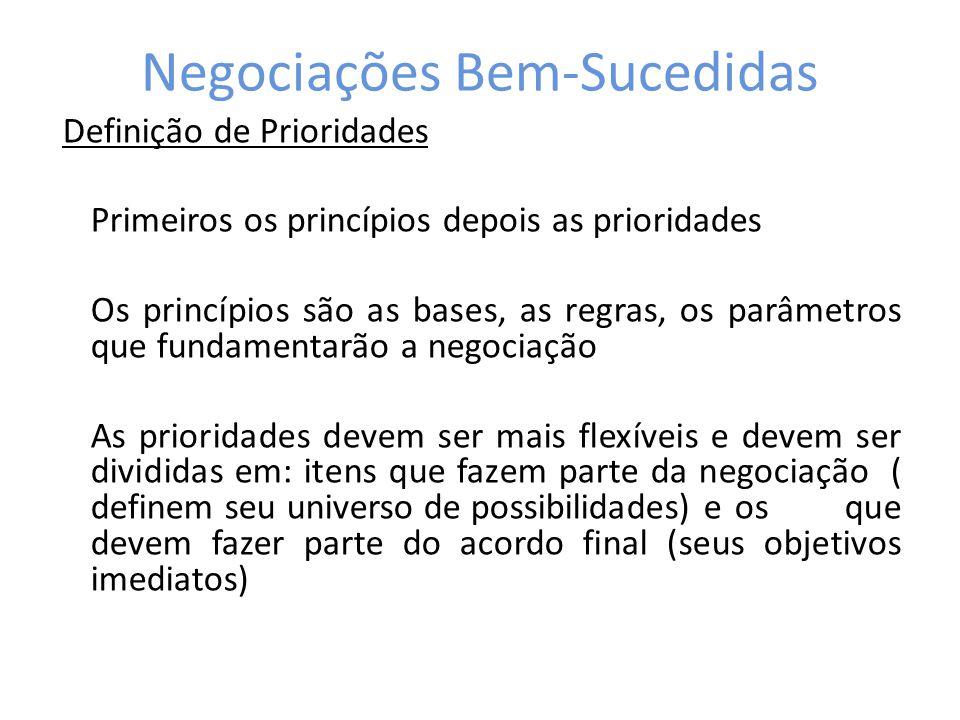 Negociações Bem-Sucedidas Definição de Prioridades Primeiros os princípios depois as prioridades Os princípios são as bases, as regras, os parâmetros