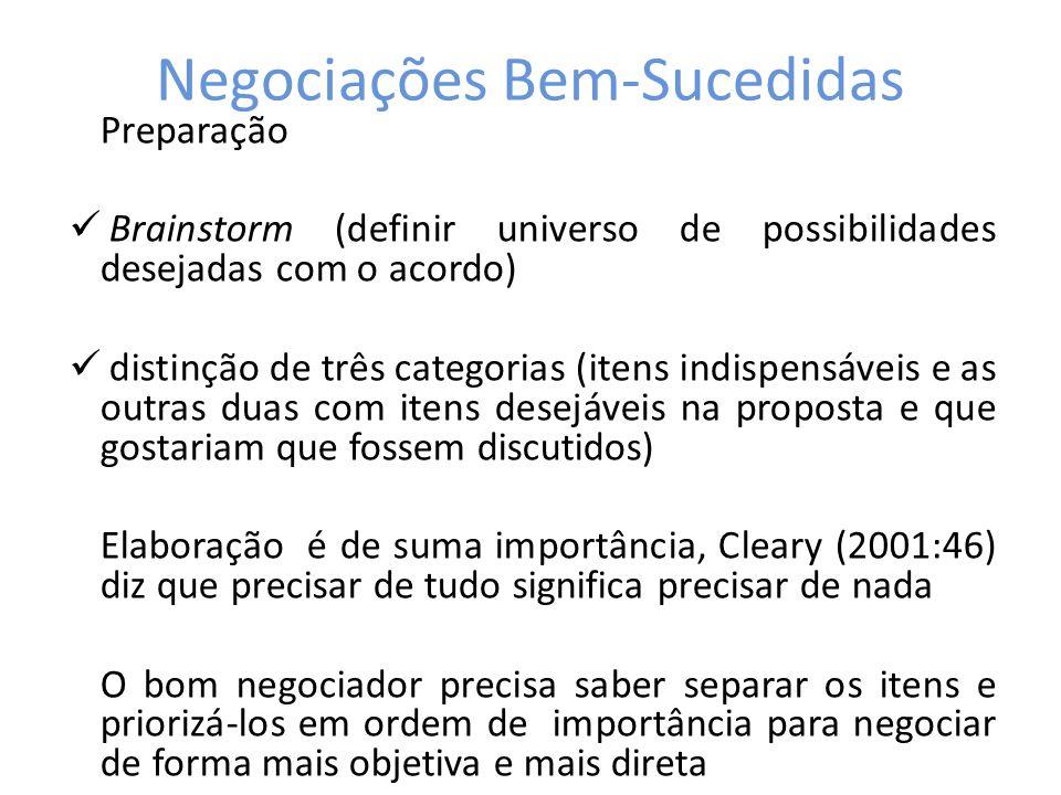 Negociações Bem-Sucedidas Preparação Brainstorm (definir universo de possibilidades desejadas com o acordo) distinção de três categorias (itens indisp