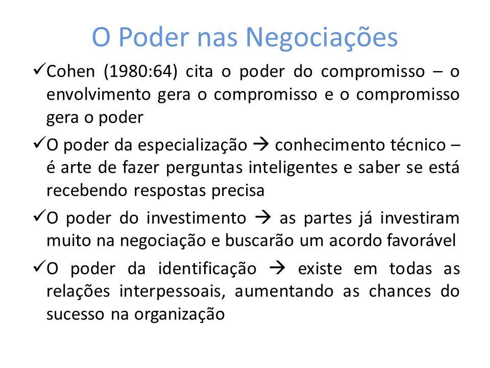 O Poder nas Negociações Cohen (1980:64) cita o poder do compromisso – o envolvimento gera o compromisso e o compromisso gera o poder O poder da especi