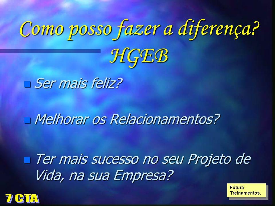 Como posso fazer a diferença? HGEB n Ser mais feliz? n Melhorar os Relacionamentos? n Ter mais sucesso no seu Projeto de Vida, na sua Empresa? Futura
