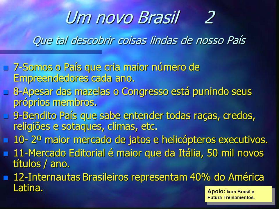 Um novo Brasil 2 Que tal descobrir coisas lindas de nosso País n 7-Somos o País que cria maior número de Empreendedores cada ano. n 8-Apesar das mazel