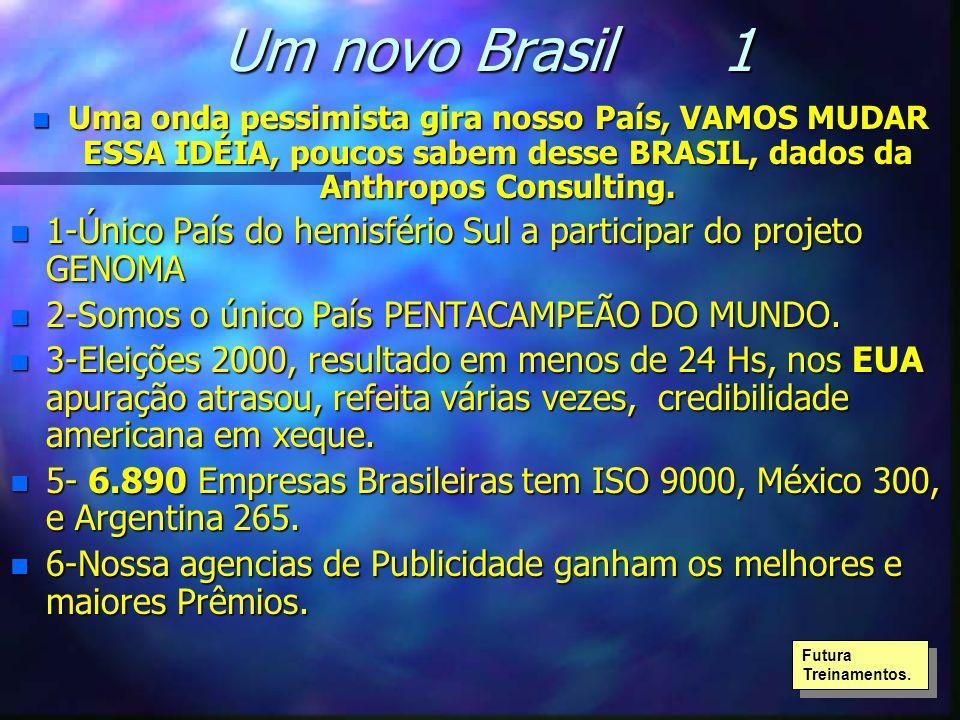 Um novo Brasil 1 n Uma onda pessimista gira nosso País, VAMOS MUDAR ESSA IDÉIA, poucos sabem desse BRASIL, dados da Anthropos Consulting. n 1-Único Pa