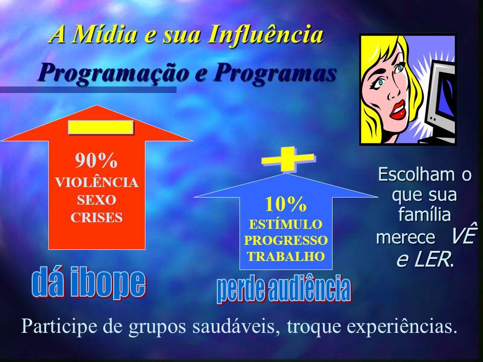 90% VIOLÊNCIA SEXO CRISES 10% ESTÍMULO PROGRESSO TRABALHO Participe de grupos saudáveis, troque experiências. Escolham o que sua família merece VÊ e L