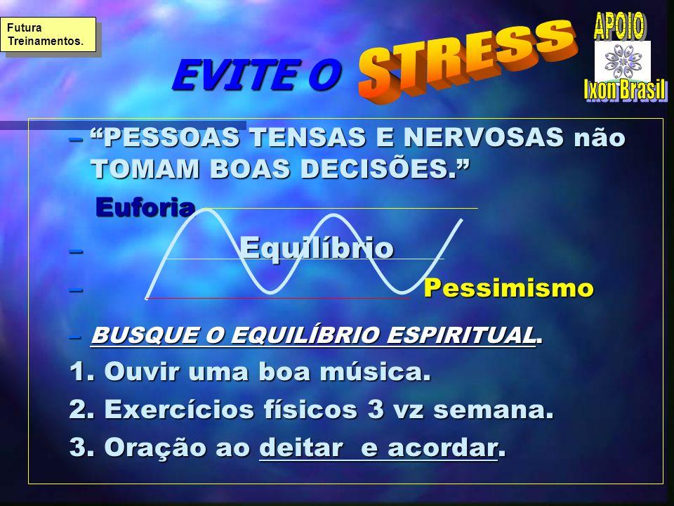 EVITE O EVITE O –PESSOAS TENSAS E NERVOSAS não TOMAM BOAS DECISÕES. Euforia Euforia – Equilíbrio – Pessimismo –BUSQUE O EQUILÍBRIO ESPIRITUAL. 1. Ouvi
