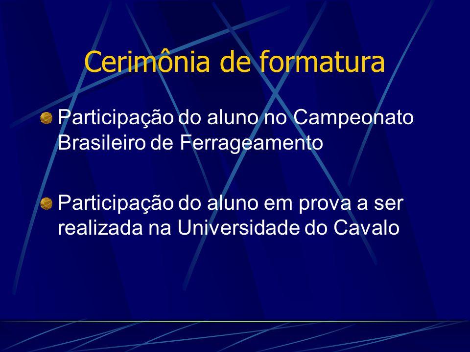 Cerimônia de formatura Participação do aluno no Campeonato Brasileiro de Ferrageamento Participação do aluno em prova a ser realizada na Universidade