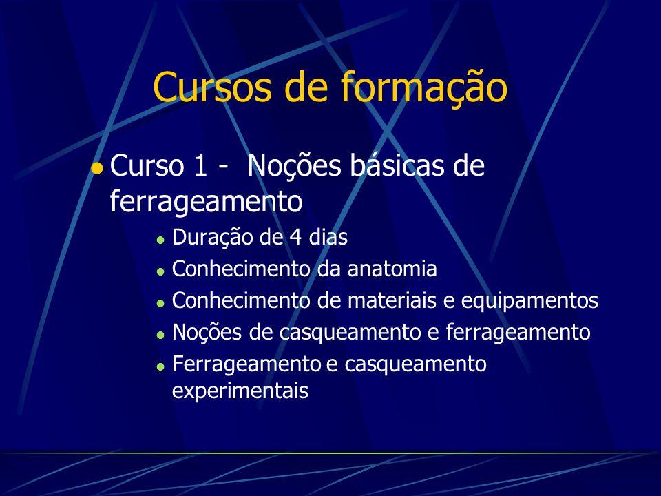 Cursos de formação Curso 1 - Noções básicas de ferrageamento Duração de 4 dias Conhecimento da anatomia Conhecimento de materiais e equipamentos Noçõe