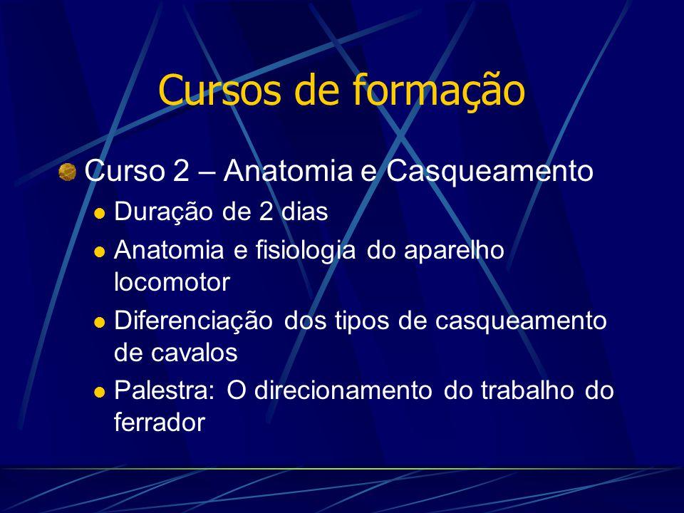 Cursos de formação Curso 2 – Anatomia e Casqueamento Duração de 2 dias Anatomia e fisiologia do aparelho locomotor Diferenciação dos tipos de casqueam