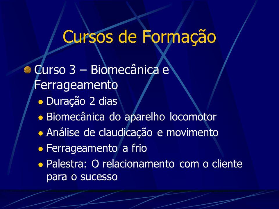 Cursos de Formação Curso 3 – Biomecânica e Ferrageamento Duração 2 dias Biomecânica do aparelho locomotor Análise de claudicação e movimento Ferrageam