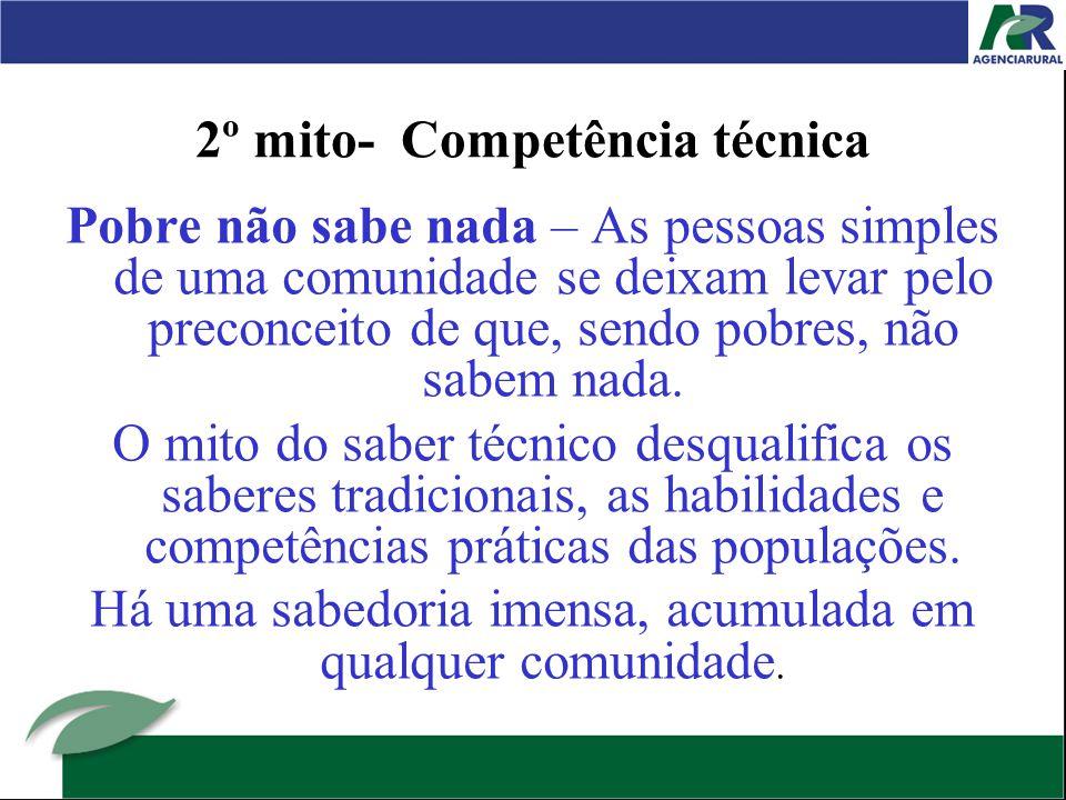 2º mito- Competência técnica Pobre não sabe nada – As pessoas simples de uma comunidade se deixam levar pelo preconceito de que, sendo pobres, não sabem nada.