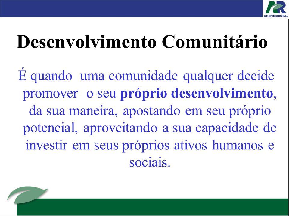 Desenvolvimento Comunitário É quando uma comunidade qualquer decide promover o seu próprio desenvolvimento, da sua maneira, apostando em seu próprio potencial, aproveitando a sua capacidade de investir em seus próprios ativos humanos e sociais.