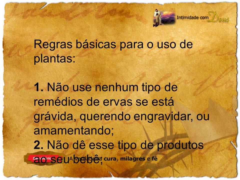 Regras básicas para o uso de plantas: 1.