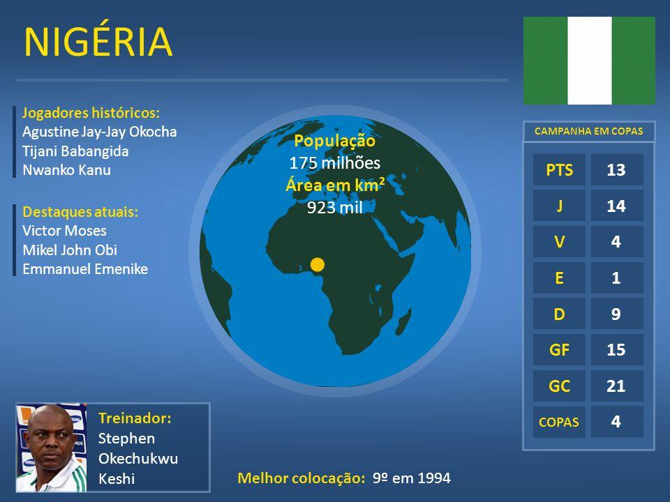 NIGÉRIA E D GF GC COPAS 13 14 4 1 9 15 21 4 PTS J V Treinador: Stephen Okechukwu Keshi Melhor colocação: 9º em 1994 Jogadores históricos: Agustine Jay