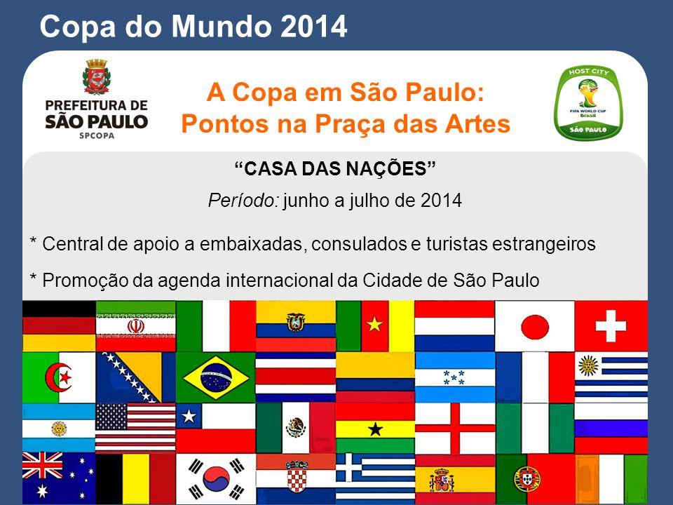 CASA DAS NAÇÕES Período: junho a julho de 2014 * Central de apoio a embaixadas, consulados e turistas estrangeiros * Promoção da agenda internacional da Cidade de São Paulo A Copa em São Paulo: Pontos na Praça das Artes Copa do Mundo 2014