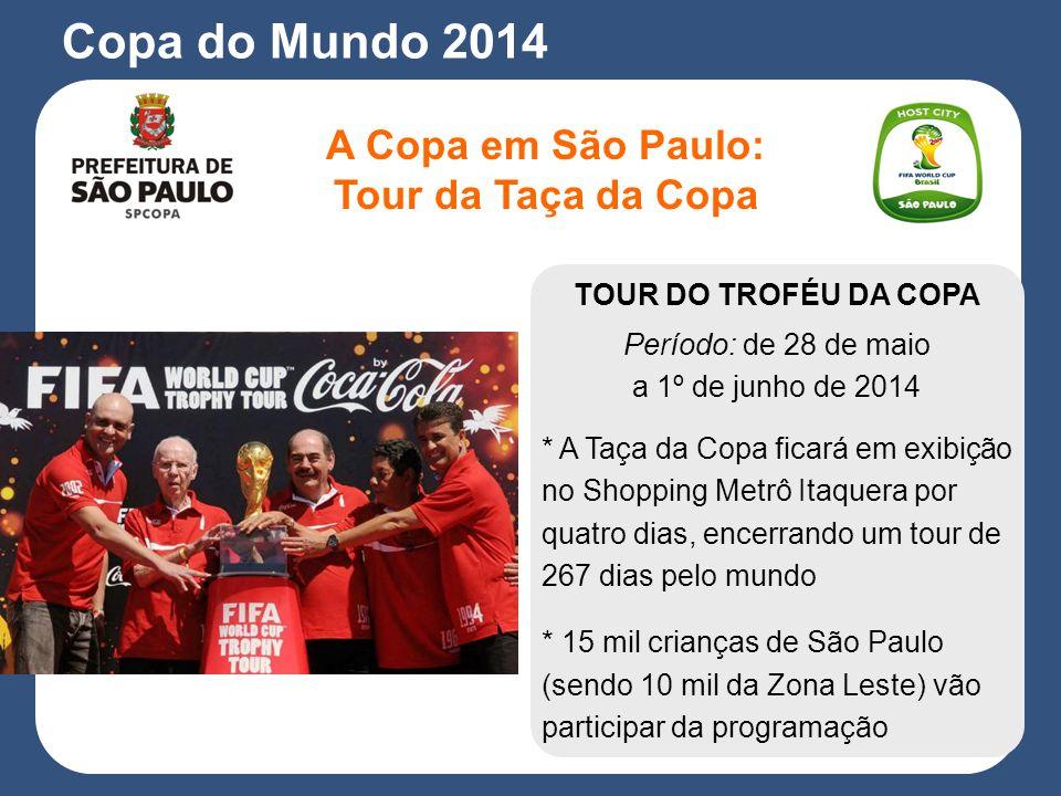TOUR DO TROFÉU DA COPA Período: de 28 de maio a 1º de junho de 2014 * A Taça da Copa ficará em exibição no Shopping Metrô Itaquera por quatro dias, encerrando um tour de 267 dias pelo mundo * 15 mil crianças de São Paulo (sendo 10 mil da Zona Leste) vão participar da programação A Copa em São Paulo: Tour da Taça da Copa Copa do Mundo 2014