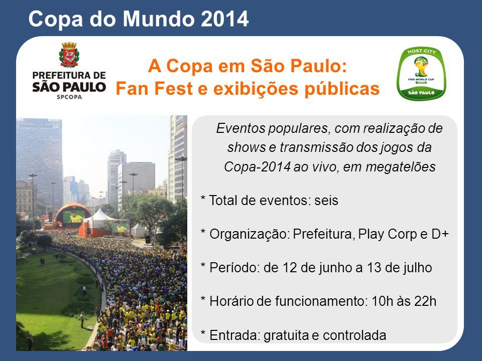 Eventos populares, com realização de shows e transmissão dos jogos da Copa-2014 ao vivo, em megatelões * Total de eventos: seis * Organização: Prefeitura, Play Corp e D+ * Período: de 12 de junho a 13 de julho * Horário de funcionamento: 10h às 22h * Entrada: gratuita e controlada A Copa em São Paulo: Fan Fest e exibições públicas Copa do Mundo 2014