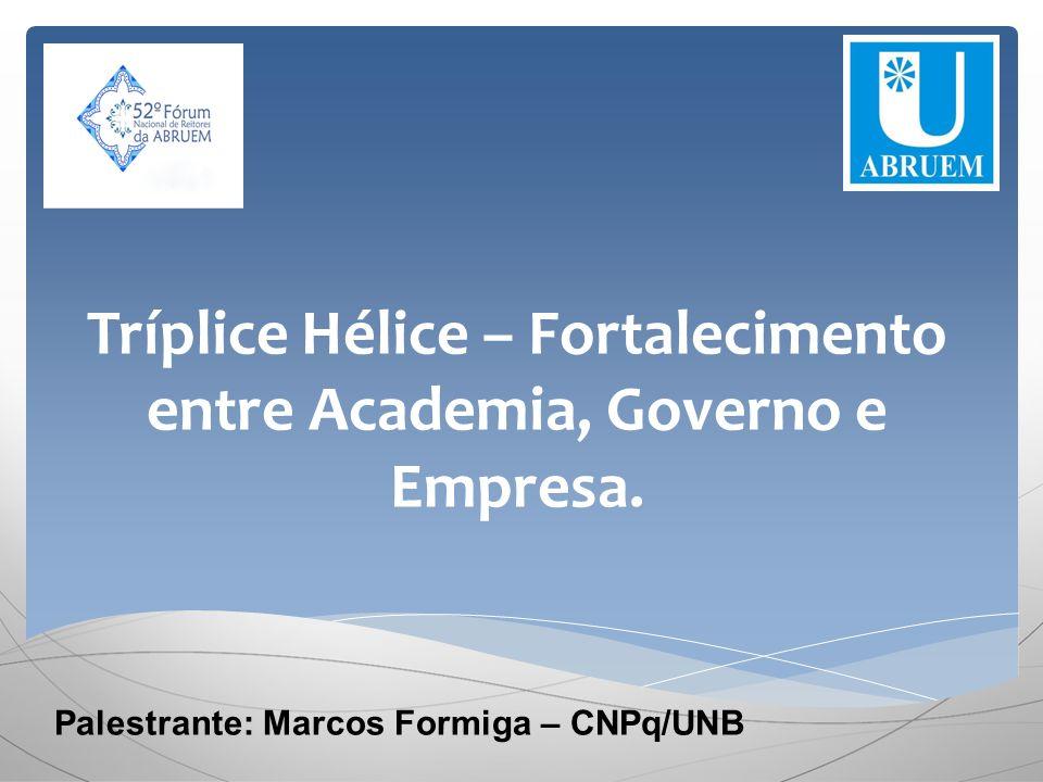 Tríplice Hélice – Fortalecimento entre Academia, Governo e Empresa. Palestrante: Marcos Formiga – CNPq/UNB