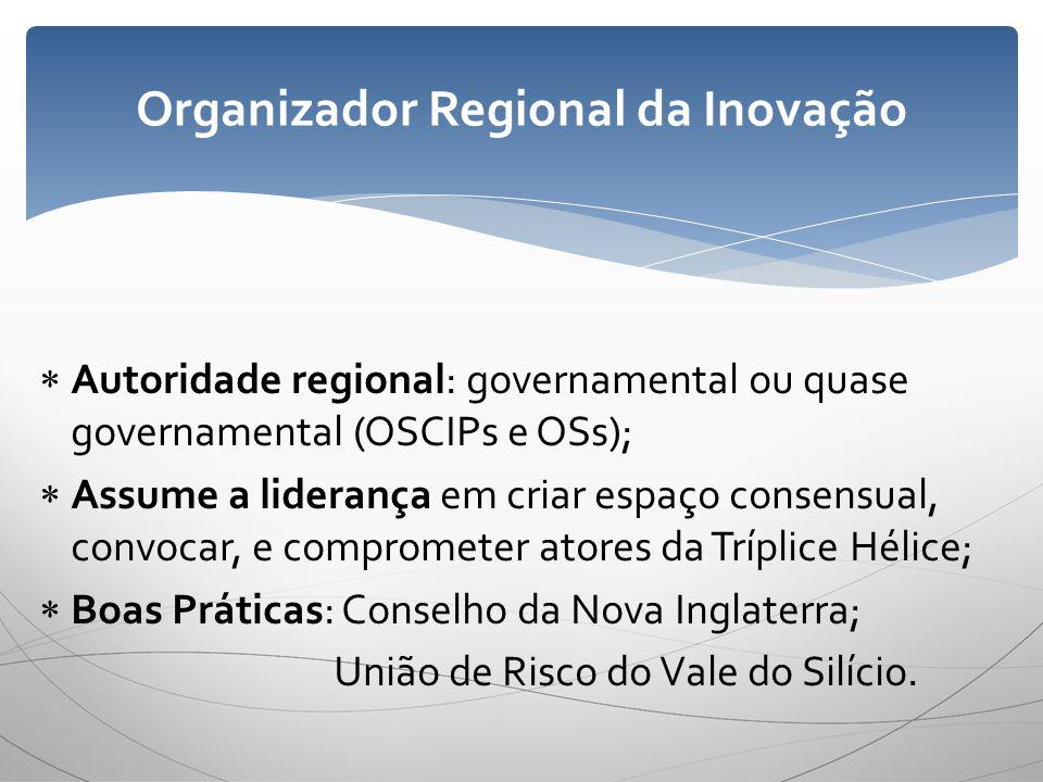 Autoridade regional: governamental ou quase governamental (OSCIPs e OSs); Assume a liderança em criar espaço consensual, convocar, e comprometer atore