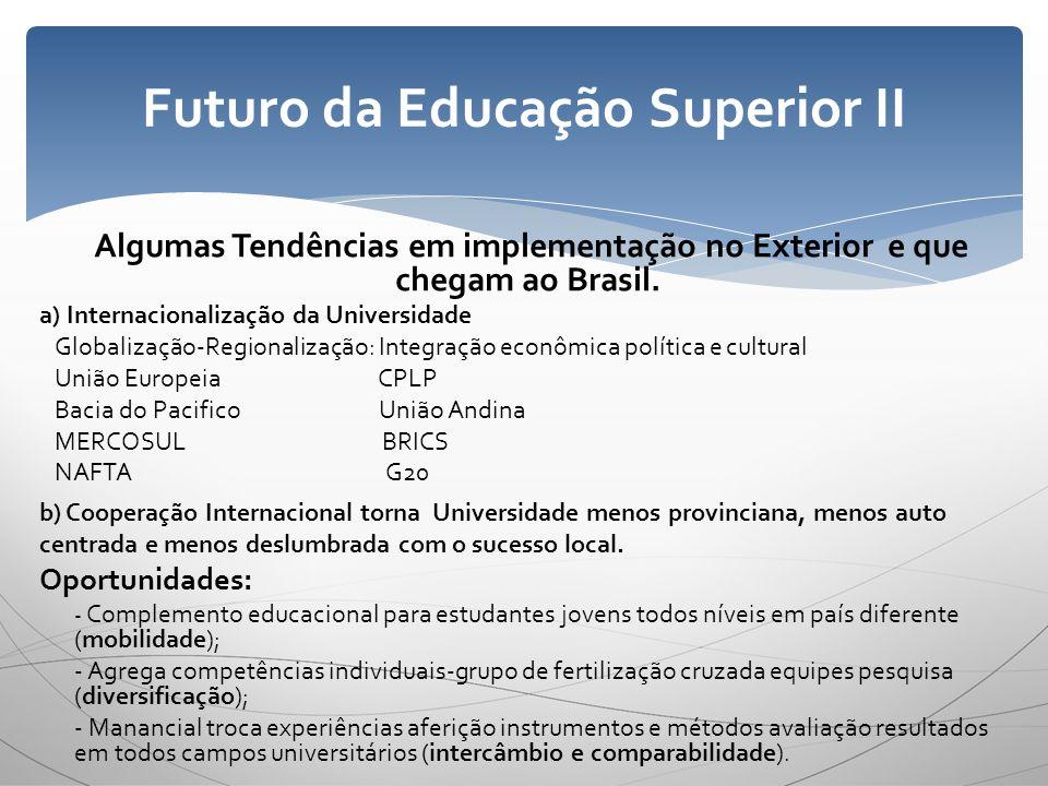 Algumas Tendências em implementação no Exterior e que chegam ao Brasil. a) Internacionalização da Universidade Globalização-Regionalização: Integração