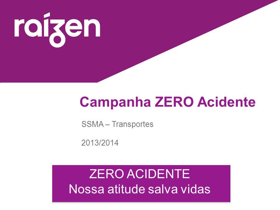 Campanha ZERO Acidente SSMA – Transportes 2013/2014 ZERO ACIDENTE Nossa atitude salva vidas ZERO ACIDENTE Nossa atitude salva vidas