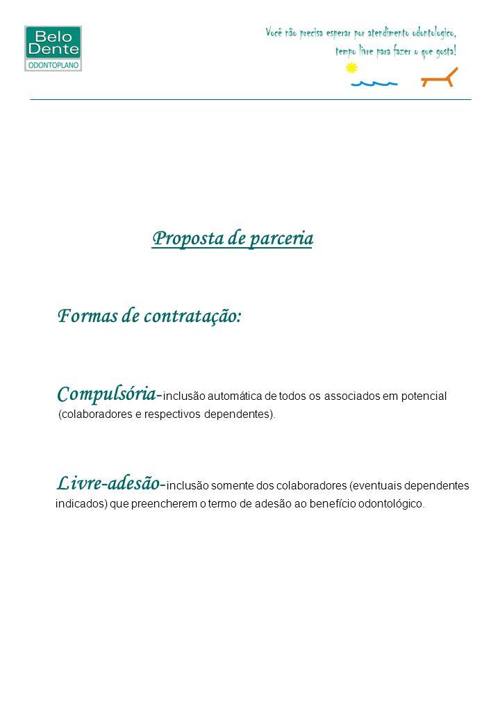 Proposta de parceria Formas de contratação: Compulsória - inclusão automática de todos os associados em potencial (colaboradores e respectivos dependentes).