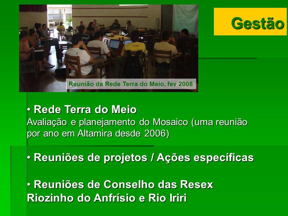 Rede Terra do Meio Rede Terra do Meio Avaliação e planejamento do Mosaico (uma reunião por ano em Altamira desde 2006) Reuniões de projetos / Ações es
