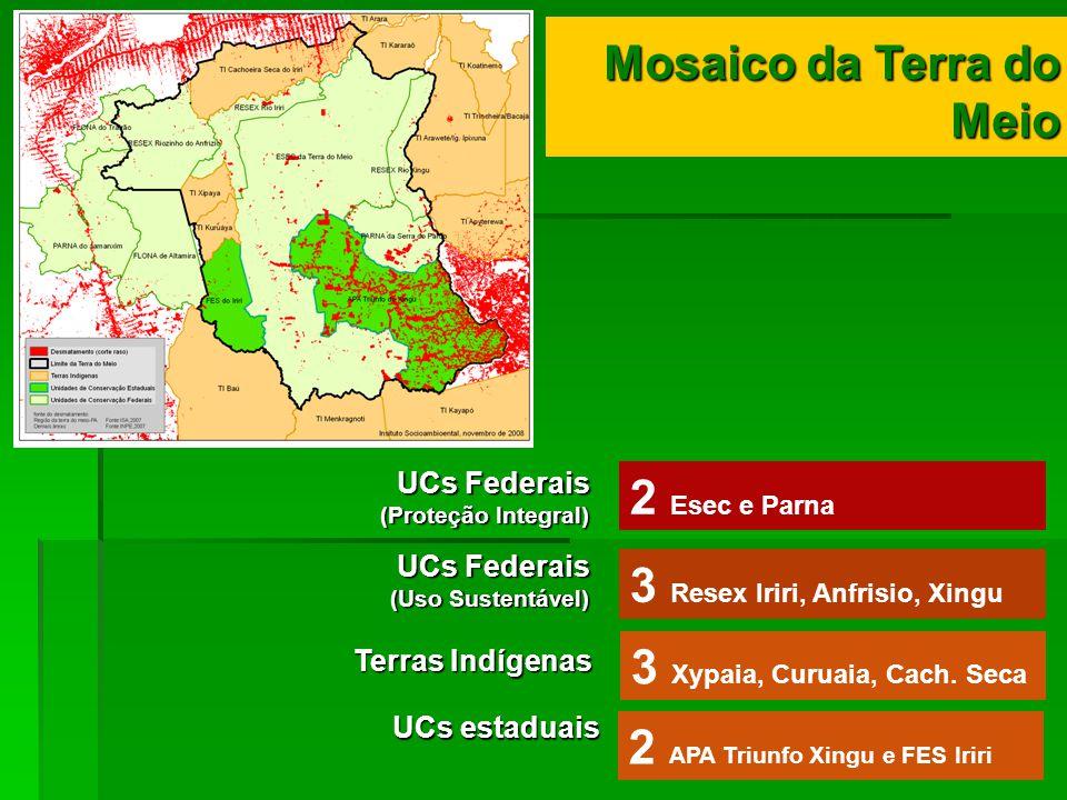 2 Esec e Parna 3 Resex Iriri, Anfrisio, Xingu 3 Xypaia, Curuaia, Cach. Seca Mosaico da Terra do Meio Mosaico da Terra do Meio UCs Federais (Proteção I