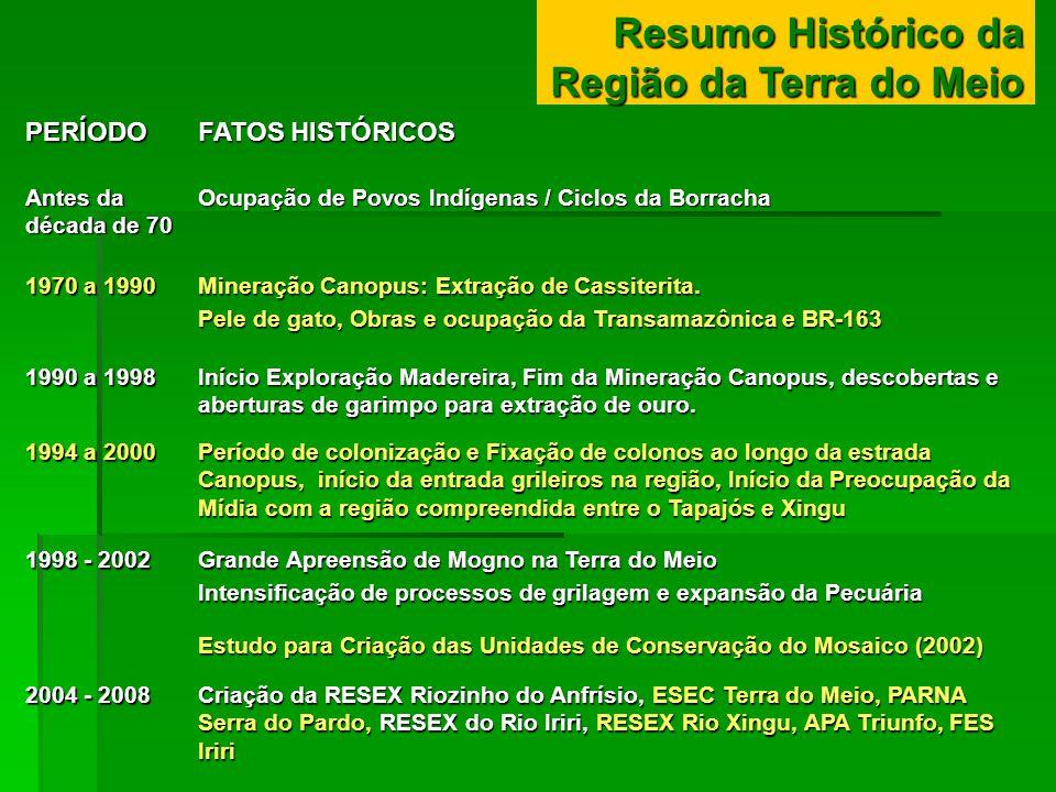 Resumo Histórico da Região da Terra do Meio PERÍODO FATOS HISTÓRICOS Antes da década de 70 Ocupação de Povos Indígenas / Ciclos da Borracha 1970 a 199