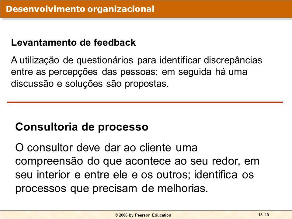 © 2006 by Pearson Education 18–10 Levantamento de feedback A utilização de questionários para identificar discrepâncias entre as percepções das pessoa
