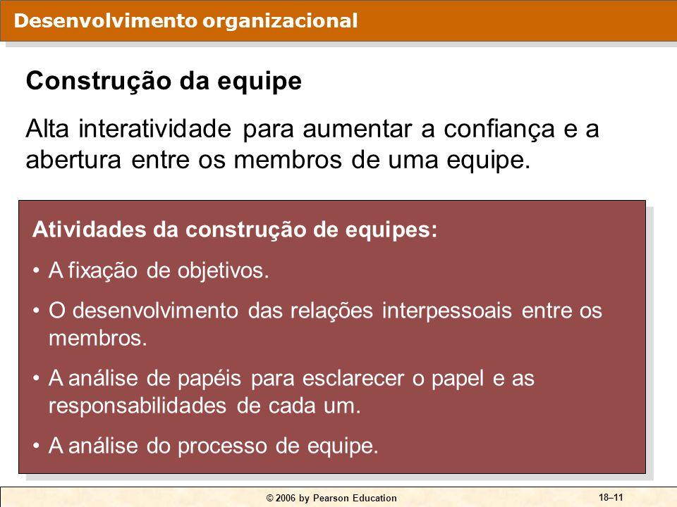 © 2006 by Pearson Education 18–11 Atividades da construção de equipes: A fixação de objetivos. O desenvolvimento das relações interpessoais entre os m