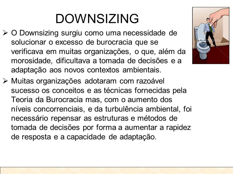 DOWNSIZING O Downsizing surgiu como uma necessidade de solucionar o excesso de burocracia que se verificava em muitas organizações, o que, além da mor