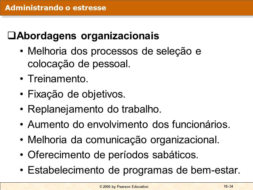 © 2006 by Pearson Education 18–34 Abordagens organizacionais Melhoria dos processos de seleção e colocação de pessoal. Treinamento. Fixação de objetiv